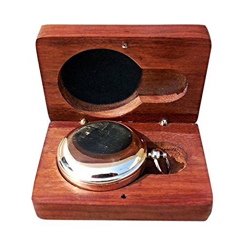 THORINSTRUMENTS Survival Compass 2 Handmade Brass Push Open Compass with Rose Wood Case, Pocket Compass for Hiking