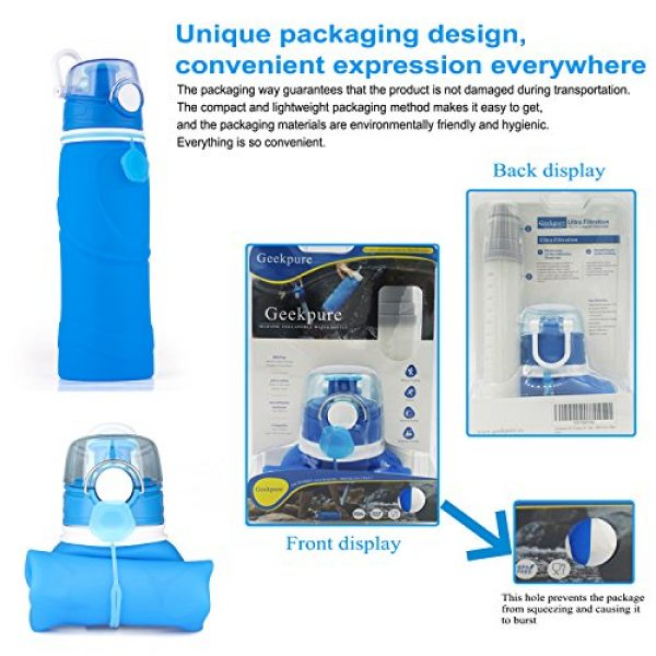 Geekpure Survival Water Filter 5 Geekpure Collapsible Water Bottle with Filter for Hiking and Camping- Reduce 99.99% Lead Arsenic Fluoride-Silicone BPA Free- 25.6 Ounce