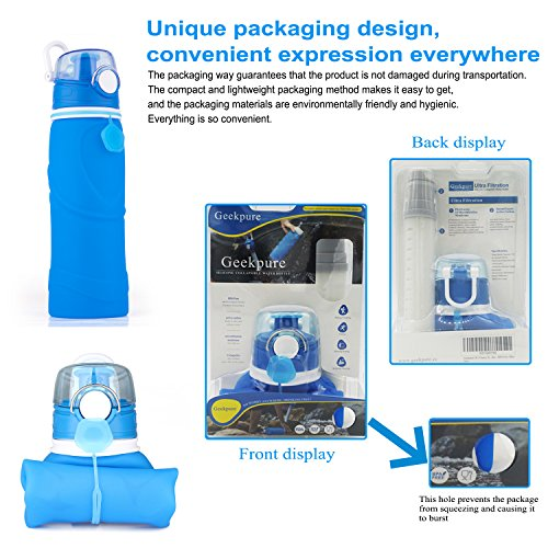 Geekpure  5 Geekpure Collapsible Water Bottle with Filter for Hiking and Camping- Reduce 99.99% Lead Arsenic Fluoride-Silicone BPA Free- 25.6 Ounce