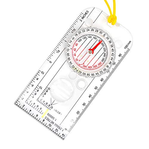 XLHVTERLI Survival Compass 6 Compass Navigation Explorer/magnetic Compass for Expedition Map reading,Lightweight Map Ruler,Compass with Adjustable Declination for Orienteering and Survival Mountaineering or Hiking Essential