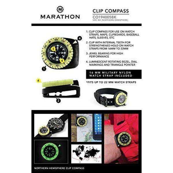 Marathon Survival Compass 13 Marathon Watch Clip-On Wrist Compass with Glow in The Dark Bezel. Northern Hemisphere Version - CO194005