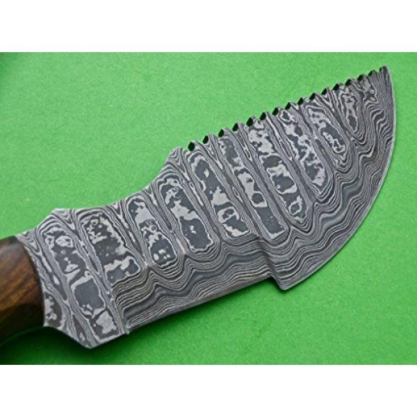 Poshland Knives Fixed Blade Survival Knife 2 Poshland Knives TRH-001, Custom Handmade Damascus Steel Tracker Knife - Exotic Wood Handle