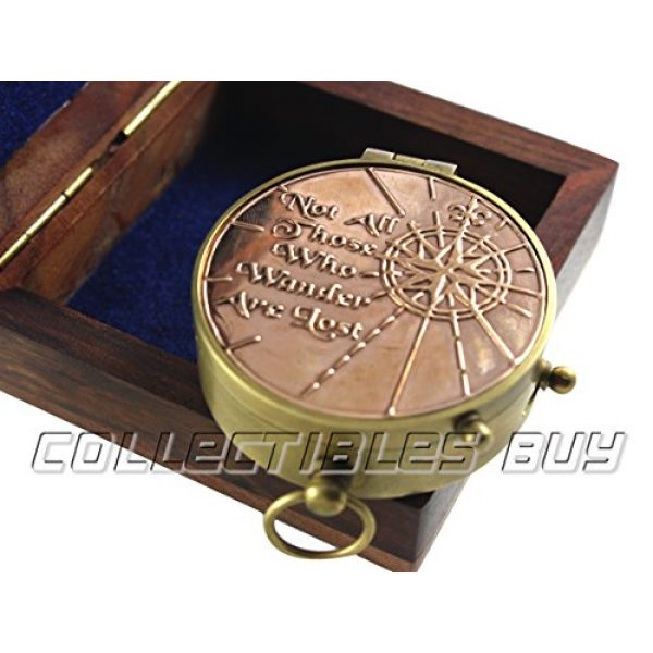 collectiblesBuy Survival Compass 3 an Authentic Quote Compass with Wooden Box - Magnetic Directional Copper Finish, Marine Brass Ship Xmas Gift