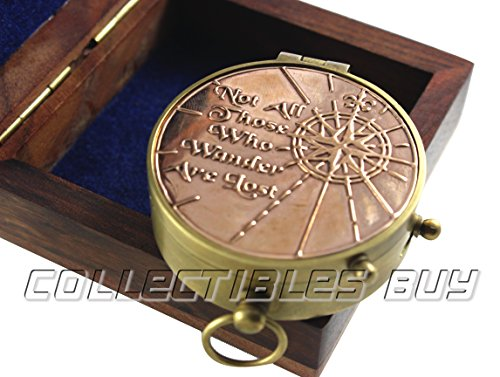 collectiblesBuy  2 an Authentic Quote Compass with Wooden Box - Magnetic Directional Copper Finish