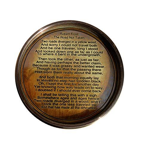 MAH Survival Compass 3 MAH Robert Frost Brass Poem Compass. C-3122