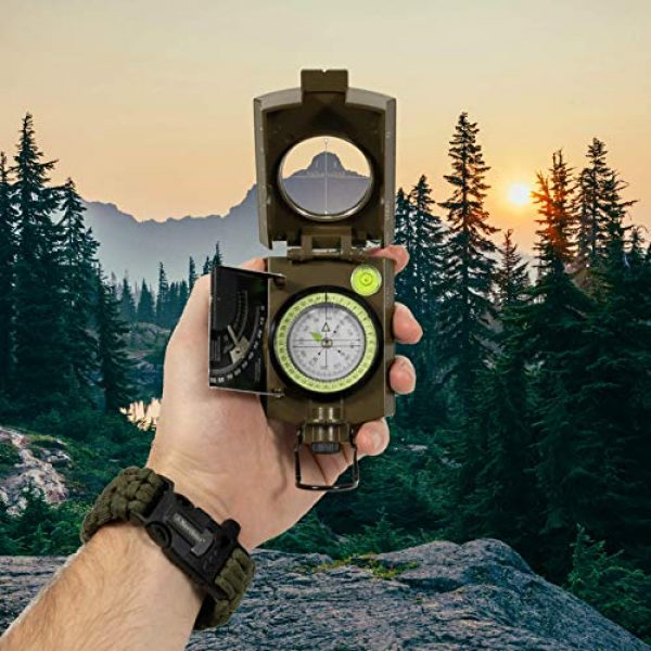 Northies Survival Compass 3 Northies Combo Pack Military Lensatic Sighting Compass and Paracord Survival Bracelet, Fire Starter, Whistle, Aluminum Alloy, Waterproof, Carrying Bag, Tactical Outdoor Gear for Camping and Hiking