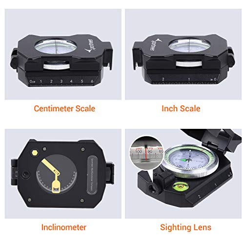 Sportneer Survival Compass 3 Sportneer Lightweight Sighting Compass with Inclinometer, Distance Calculator, Military Lensatic Waterproof Survival Compasses for Camping, Hiking, Backpacking, Boy Scout,Navigation, Boating