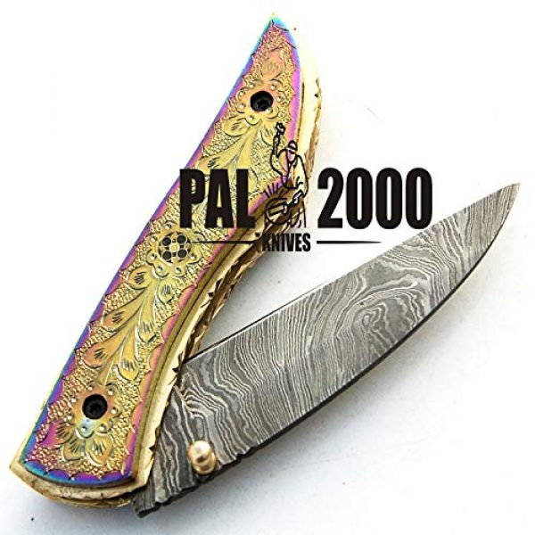 PAL 2000 KNIVES Folding Survival Knife 3 PAL 2000 KNIVES - 9515-SJRJ Titanium Handle - Best Handmade Damascus Pocket Knife - Beautiful Folding Knife with Sheath