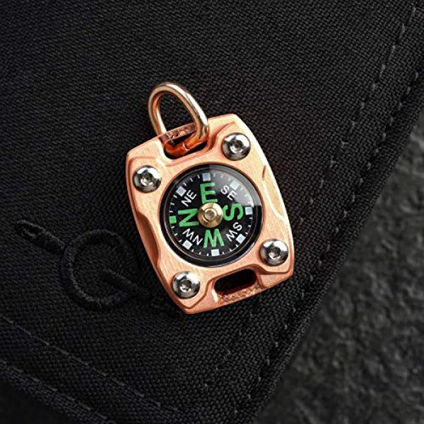 MecArmy Survival Compass 3 MecArmy CMP2-T High Sensitivity EDC Compass, Mechanical Instrument Inspired Design with Exquisite Engrave, Fluorescence Glow in The Dark Free Beaded Chain Worn as a Pendant