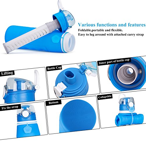 Geekpure  4 Geekpure Collapsible Water Bottle with Filter for Hiking and Camping- Reduce 99.99% Lead Arsenic Fluoride-Silicone BPA Free- 25.6 Ounce