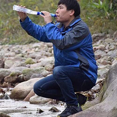EOPER  7 EOPER Personal Water Filter Portable Survival Purifier Filtration Membrane Activated Charcoal Outdoor Drinking Equipment for Camping Hiking Hunting Fishing Travel 1 Pieces Blue