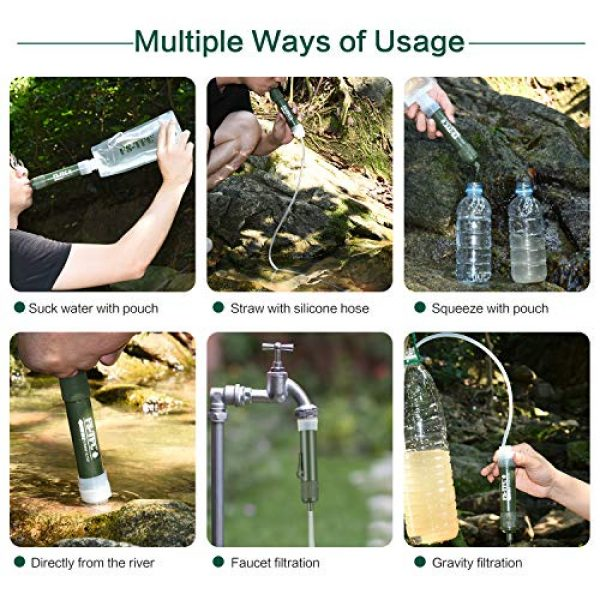 FS-TFC Survival Water Filter 6 FS-TFC Personal Water Filter Straw Mini Water Purifier Survival Gear for Hiking, Camping, Travel and Emergency Preparedness