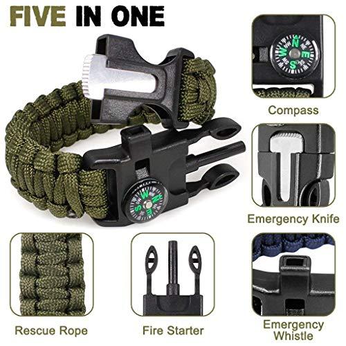 Feellove  3 Feellove 2pcs Survival Bracelets Compass Flint Bracelet Outdoor Escape Survival Hand Rope Survival Whistle Life-Saving Flint Bracelet