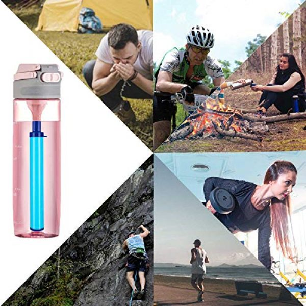 DOTSOG Survival Water Filter 5 DOTSOG 2 Pack Personal Water Filter Straw BPA Free with 1000L 3-Stage,Portable Water Purifier Lightweight for Hiking Camping Survival Outdoor Backpacking Traveling Emergency