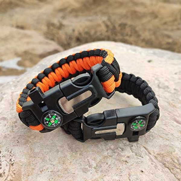 WEREWOLVES Survival Paracord Bracelet 7 WEREWOLVES Survival Paracord Bracelets,Professional Personal EDC Tactical Bracelet,Multifunction Camping Hiking Gear with Compass, Fire Starter, Whistle and Emergency Knife