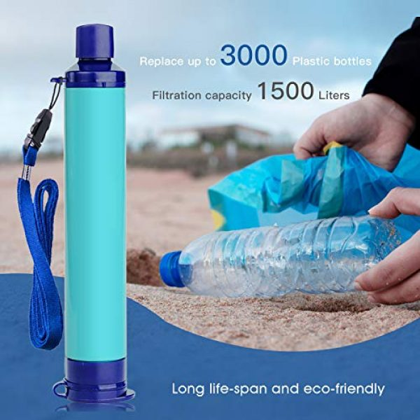 Membrane Solutions Survival Water Filter 6 Membrane Solutions Straw Water Filter,Survival Filtration Portable Gear,Emergency Preparedness,Supply for Drinking Hiking Camping Travel Hunting Fishing Team Family Outing
