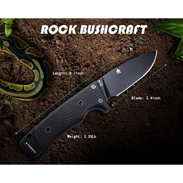 HX OUTDOORS Fixed Blade Survival Knife 3 Hunting Knife,Tactical Knife Fixed Blade with Durable Sheath,D2 Survival Knife for Outdoor Camping,Fishing,Bushcraft, Multi-tool with Sharpener,Fire Starter(8.7inches)
