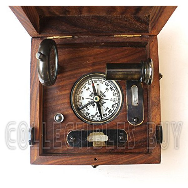 collectiblesBuy Survival Compass 2 Six Instrument Marine Master Box - Compass Telescope Scale Chart Spirit Level Alidade
