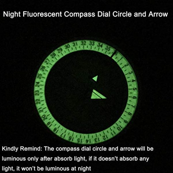 DETUCK Survival Compass 5 DETUCK(TM Military Compass Metal Lensatic Compass with Inclinometer, Night Fluorescent, Impact Resistant and Waterproof, Sighting Navigation Survival Compass for Hiking, Camping, Hunting, etc