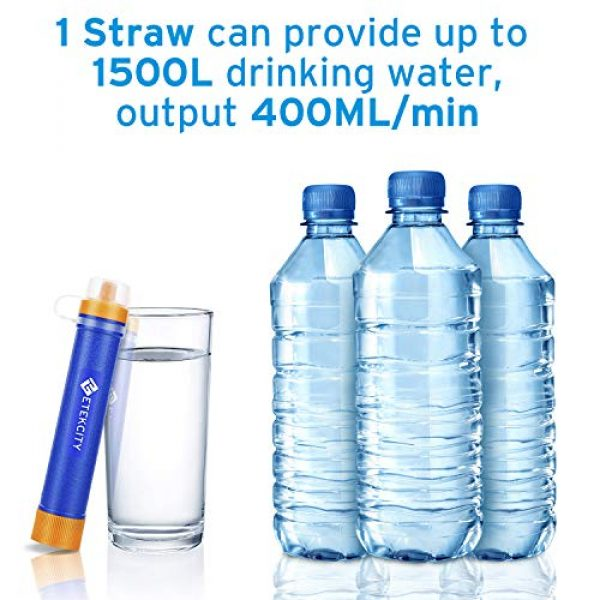 Etekcity Survival Water Filter 5 Etekcity Water Filter Straw Camping Water Purification Portable Water Filter Survival Kit for Camping, Hiking, Emergency, Hurricane for Fathers Day