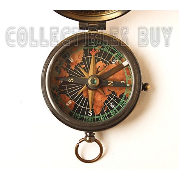 collectiblesBuy Survival Compass 5 collectiblesBuy Antique Vintage Compass Pocket Brass Authentic Sailor, 2 inch, Brown