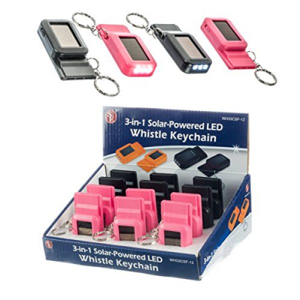 SE Survival Whistle 7 SE 3-in-1 Solar-Powered LED Whistles with Keychains (12-Pack) - WH33CSF-12