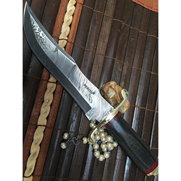 Perkin Fixed Blade Survival Knife 5 Perkin | 12 Inch Razor Sharp Fixed Blade Damascus Steel Bowie Knife | Full Tang Blade W/A High Grade Leather Sheat