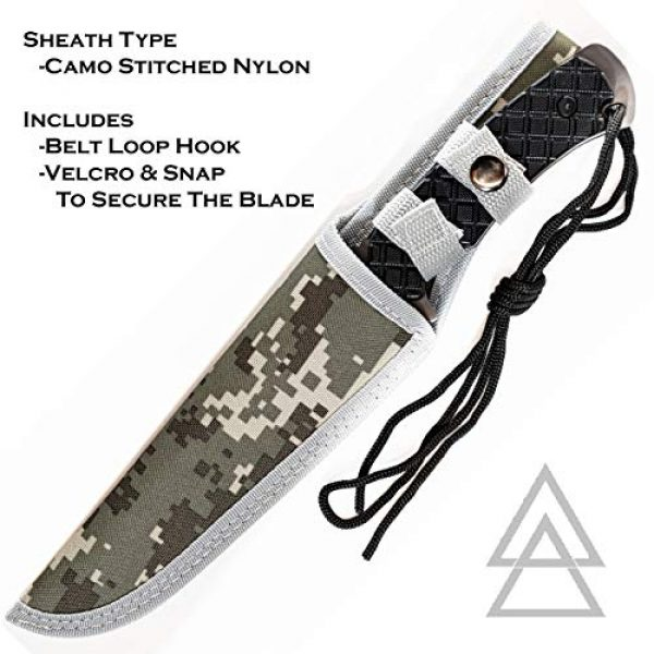 """Kratos Fixed Blade Survival Knife 2 Kratos ZF3 Hunting Knife   7"""" Quality Steel Fixed Blade   Outdoor   Sharp Durable Edge   Black Handle   w/Sheath"""