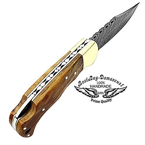 Best.Buy.Damascus1  4 Pocket Knife Olive Wood 6.5'' Damascus Steel Knife Brass Bloster Back Lock Folding Knife + Sharpening Rod Pocket Knives 100% Prime Quality+ Buffalo Horn Small Pocket Knife + Damascus Knife