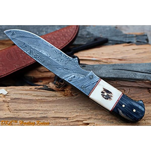 """DKC Knives Fixed Blade Survival Knife 4 DKC Knives DKC-715 Swagger Stag Horn Hunting Handmade Knife Fixed Blade 8.5 oz 9"""" Long 4"""" Blade"""