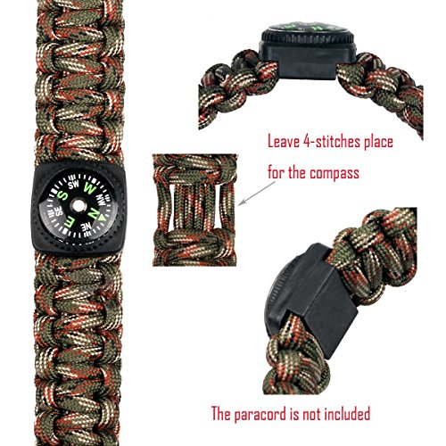 bayite  4 bayite Hard Shell Liquid Filled Button Compass Set for Survival Watch Band Paracord Bracelet Pack of 10