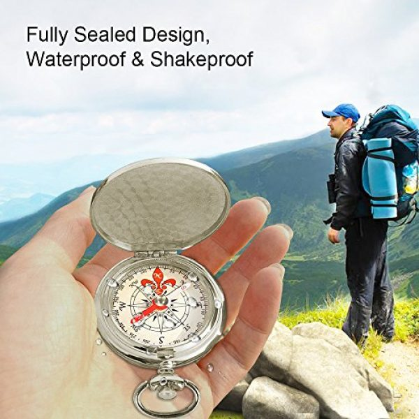 ydfagak Survival Compass 6 ydfagak Compass Premium Portable Waterproof Hiking Navigation Compass with Glow in The Dark Perfect for Camping Hiking and Other Outdoor Activities (Silver)