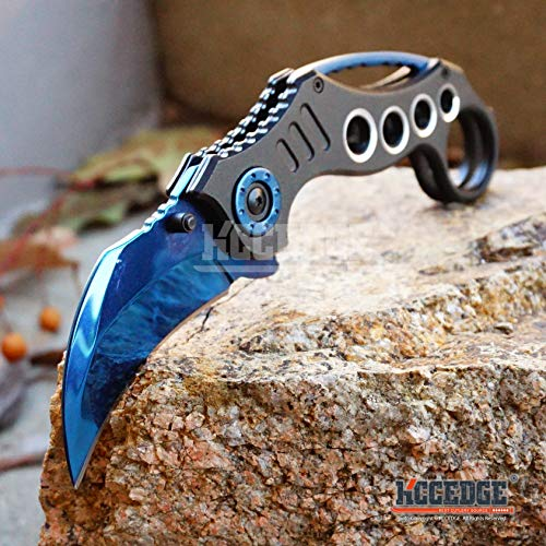 KCCEDGE BEST CUTLERY SOURCE  6 KCCEDGE BEST CUTLERY SOURCE Pocket Knife Camping Accessories Survival Kit Razor Sharp Karambit Survival Folding Knife Camping Gear EDC 55310 (Blue)