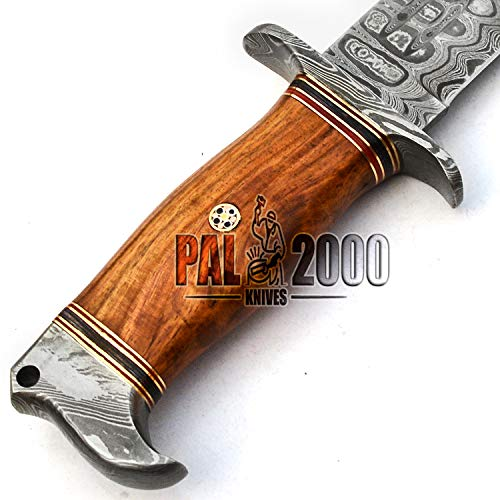 PAL 2000 KNIVES  6 PAL 2000 KNIVES - Handmade Damascus Knife 13 Inches Rose Wood Handle with Sheath 9660