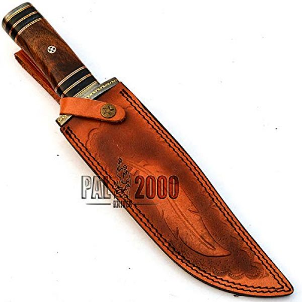 PAL 2000 KNIVES Fixed Blade Survival Knife 2 PAL 2000 KNIVES Handmade Damascus Steel Knife with Sheath 14 Inches Beautiful Rose Wood Handle New Pattern Fixed Blade Full Sharp Edge 9688