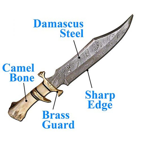 Skokie Knives Fixed Blade Survival Knife 2 Skokie Knives Custom Hand Made Damascus Steel Hunting Knife Handle Camel Bone