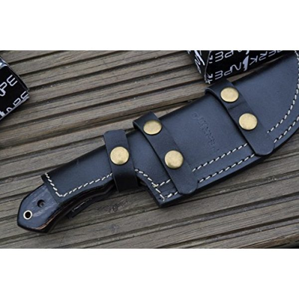 Perkin Fixed Blade Survival Knife 6 Perkin Knives - Hunting Knives with Leather Sheath Damascus Blade