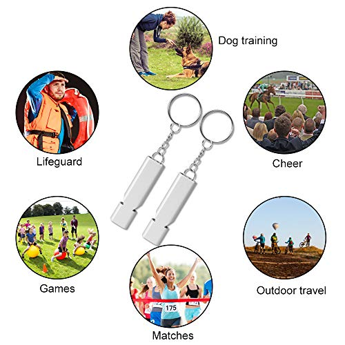 Hicdaw  6 Hicdaw 4 Set Emergency Whistles Survival Whistle with Lanyard and Keyring for Kids Women Outdoor Sports Camping Hiking Training Dog Whistles