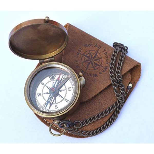 NEOVIVID Survival Compass 2 NEOVIVID Thoreau's Go Confidently Quote Engraved Compass with Stamped Leather case, Graduation Day Gifts