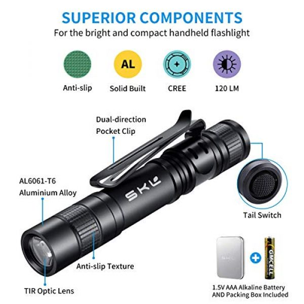 SKL Survival Flashlight 2 Pen Flashlight MiNi Flashlight Small EDC Flashlight Slim Pocket Flashlight with AAA Battery and Battery Case Perfect for Outdoor Camping Hiking Backpacking Emergency(Including Battery)