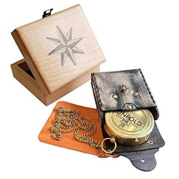 Brass Nautical Survival Compass 3 Brass Nautical - Rumi's Brass Unfold Your Own Myth Compass with Leather Carry Pouch and Gift Box, Graduation Day, Confirmation Day, Baptism Gifts, New Year Gift, Birthday, Anniversary, Valentine