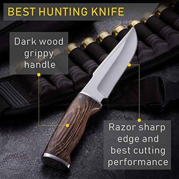 Grand Way Fixed Blade Survival Knife 4 Hunting Knife - Survival Knives with Sheath - Engraved Fixed Blade Knife - Hunter Bushcraft Bowie Knofe - Classic Long Blade Knifes with Wood Handle for Men - Best for Hunting Camping Defense 2428