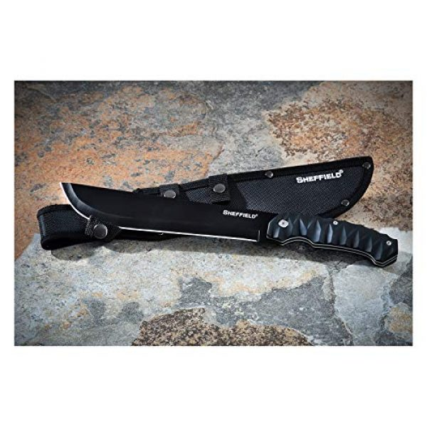 Sheffield Fixed Blade Survival Knife 6 Sheffield 12143 Drayton 9 Inch Drop Point Blade Tactical Machete with Sheath, All-Purpose Survival Knife, Machete for Clearing Brush, Camping Knife, Full Tang, Black