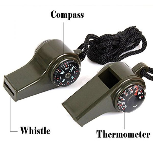 TTSAM Survival Whistle 3 TTSAM Emergency Whistle with Lanyard, Multi-Functional 3 in1 Survival Gear Compass Thermometer for Outdoor Camping Hiking