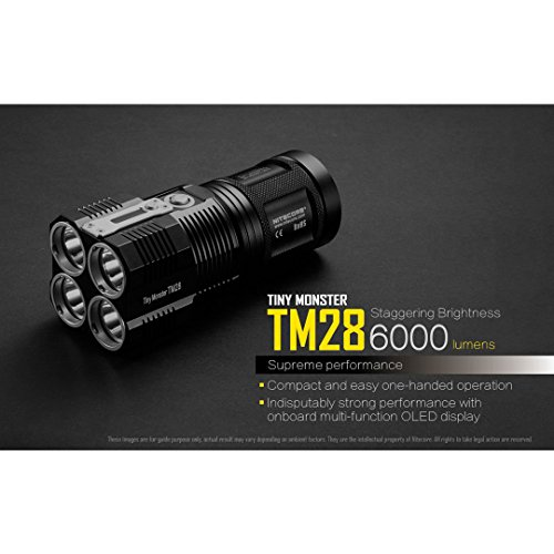 Nitecore  2 Nitecore TM28 Tiny Monster 6000 Lumen QuadRay Rechargeable Flashlight
