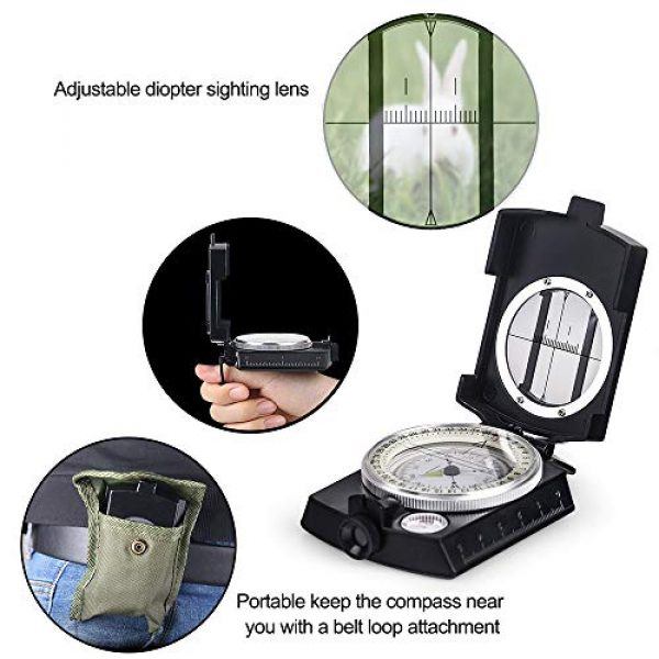 COSTIN Survival Compass 6 COSTIN Multifunctional Compass, Metal Military Waterproof High Accuracy Compass with Map Measurer, Distance Calculator,Bubble Level Perfect for Outdoor Activities, Matte Black