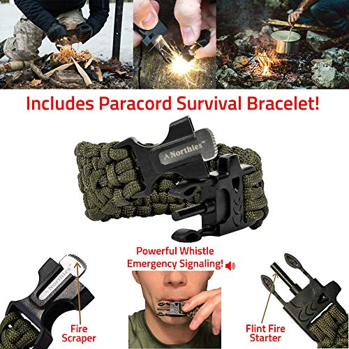 Northies Survival Compass 2 Northies Combo Pack Military Lensatic Sighting Compass and Paracord Survival Bracelet, Fire Starter, Whistle, Aluminum Alloy, Waterproof, Carrying Bag, Tactical Outdoor Gear for Camping and Hiking