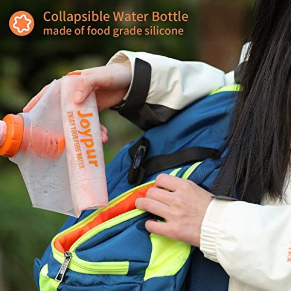 joypur Survival Water Filter 5 joypur Collapsible 0.01 Micron Water Bottle with Filter 3-Stage Integrated Camping Water Purifier for Travel Hiking Backpacking Endurance Sports, 68 oz Filter Water Bottle