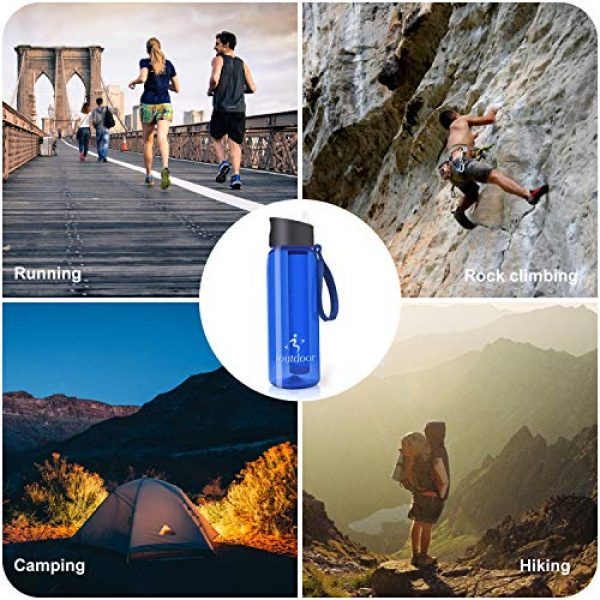 ioutdoor Survival Water Filter 7 ioutdoor Filtered Water Bottle 22oz with One Free Emergency Blanket, BPA Free Tumblers with 2-Stage Intergrated Filter Straw for Camping, Hiking, Backpacking,Travel,Daily Use