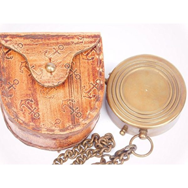 NEOVIVID Survival Compass 2 NEOVIVID Grow Old with ME Engraved Brass Compass ON Chain with Leather CASE, Directional Magnetic Compass